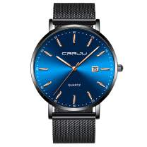 Mens Classic Wrist Watch Men Fashion Business Dress Date 30M Waterproof Analog Quartz Watches Band Color Black/Blue/Gold/Rose