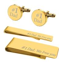 BodyJ4You 4PC Cufflinks Tie Bar Money Clip Button Shirt Father Day Wedding Bride Groom Gift
