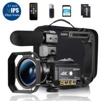 """Ordro AC3 4K Camcorder HD Digital Video Camera 1080P 60FPS Infrared Night Vision 3.1"""" IPS Screen with Microphone, Wide Angle Lens, Lens Hood, 64GB SD Card, Handle,2 Batteries,Carrying Case"""