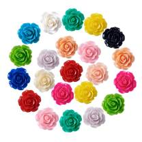 Craftdady 20Pcs Resin Rose Flower Flat Back Cabochons 10mm Undrilled Opaque Random Mixed Colors for Scrapbooking Jewelry Making
