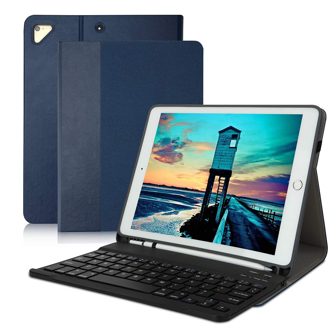 5th Gen Air 2 iPad 9.7 Keyboard Case Compatible iPad 9.7 2017 Pro 9.7 6th Gen Air-Detachable Backlit Wireless Keyboard Stand Case//Heavy Duty Shockproof Rugged Case with Stylus Holder-Black 2018