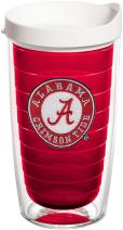 Tervis 1238642 Alabama Crimson Tide Insulated Tumbler with Emblem and White Lid, 16oz, Red