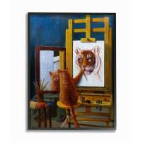 Stupell Industries Cat Confidence Self Portrait as a Tiger Funny Painting Black Framed Wall Art, 16 x 20, Design by Artist Lucia Heffernan