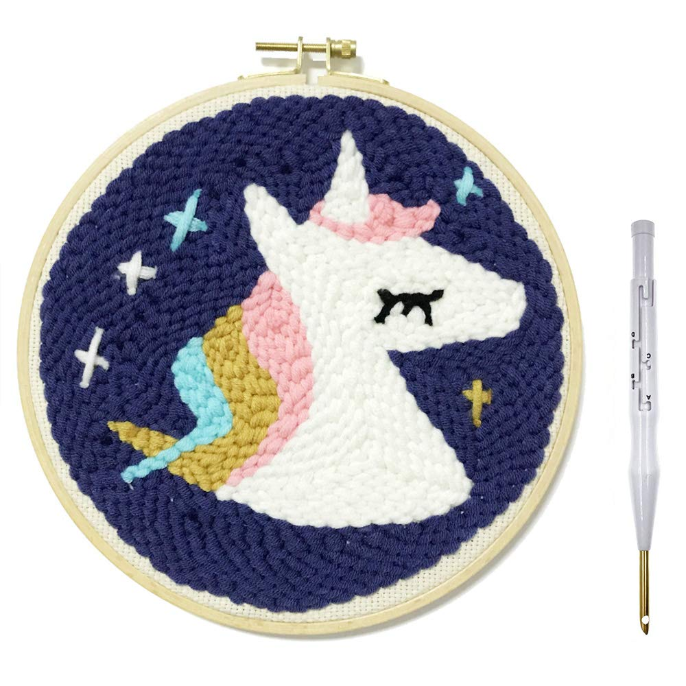 Wool Queen Unicorn Punch Needle Starter Kit | Animal Rug Hooking Beginner Kit, with an Adjustable Embroidery Pen and 8.0'' Bamboo Hoop