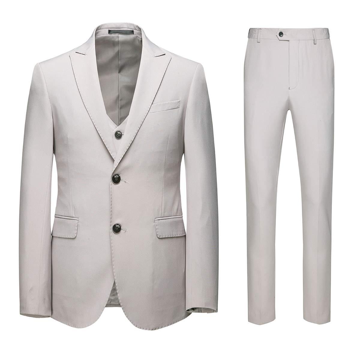 iClosam Mens Slim Fit 3 Piece Suit Two Button Blazer Tux Vest /& Trousers