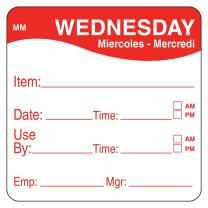 """DayMark Day of The Week 2"""" x 2"""" Removable Label, Wednesday, Item/Date/Use by (Roll of 500)"""