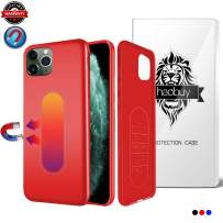 Magnetic Case for iPhone 11 Pro Max, Ultra Thin Magnetic Phone Case for Magnet Car Phone Holder with Invisible Built-in Metal Plate, Soft TPU Anti-Scratch Cover for iPhone 11Pro Max 6.5''-Red