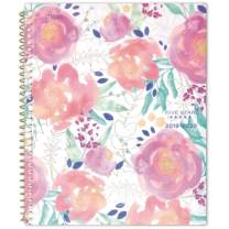 """Five Star 2019-2020 Academic Year Weekly & Monthly Planner, Large, 8-1/2"""" x 11"""", In Bloom, White Floral (1212A-905A)"""