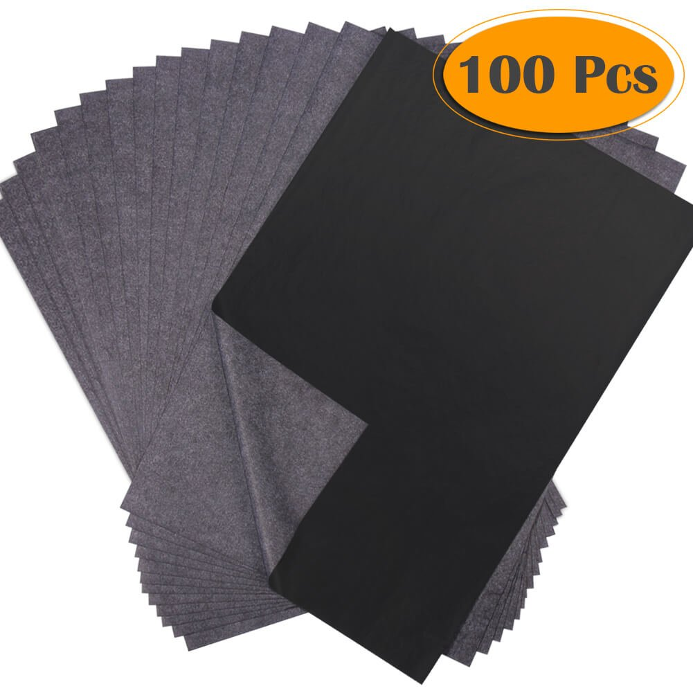 Selizo 100 Sheets Black Carbon Transfer Tracing Graphite Paper for Wood, Paper, Canvas and Other Art Surfaces (8.5 x 11 Inches)