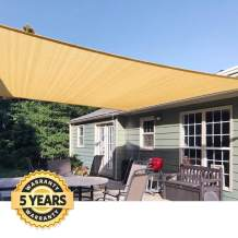 Quictent 185HDPE Rectangle Sun Shade Sail Outdoor Patio Lawn Garden Canopy Top Cover 98% UV-Blocked (12 x 16 ft, Sand)