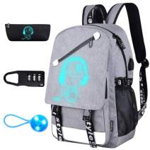 EC VISION Music Luminous Backpack, School Laptop Bookbag Travel Outdoor Camping Backpack with USB Charging Port Pencil Case