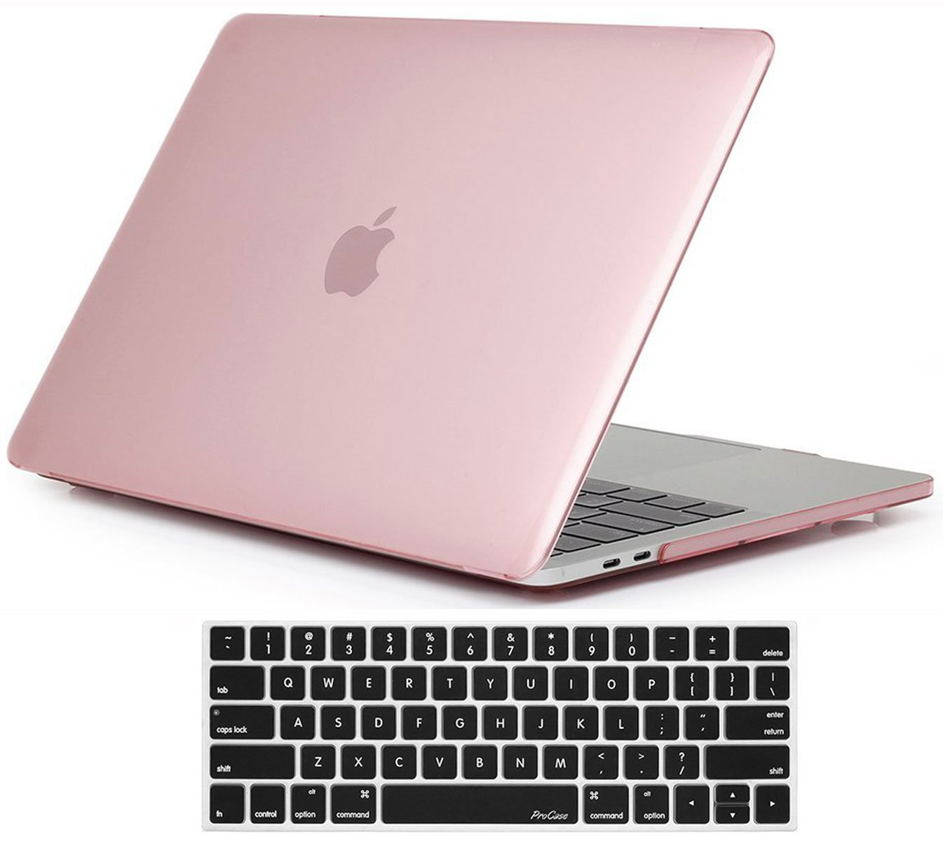 """Procase MacBook Pro 15 Case 2019 2018 2017 2016 Release A1990/A1707, Hard Case Shell Cover and Keyboard Cover for MacBook Pro 15"""" (2019/2018/2017/2016) with Touch Bar & Touch ID -Clear Pink"""
