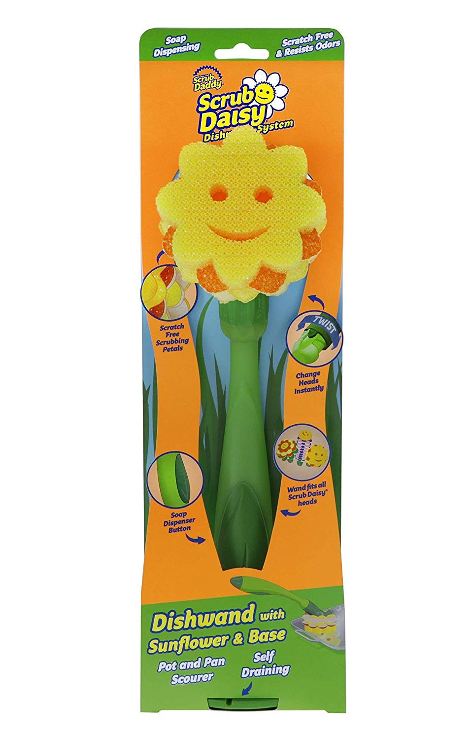 Scrub Daddy- Sunflower Pot & Pan Scourer 3 Piece Combo - Soap Dispensing Dishwand, Non-toxic Sponge Head, Self Draining Base, Deep Cleaning, Scratch Free, Multi-surface, Odor Resistant - 1ct