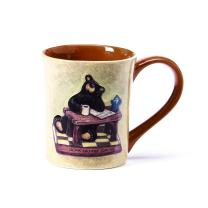 Bear Before Coffee Natural Brown 12 Ounce Glossy Stoneware Mug With Handle