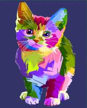 """Paint by Numbers DIY Acrylic Painting Kit for Kids & Adults by iCoostor – 16"""" x 20"""" Colorful Cat Pattern"""