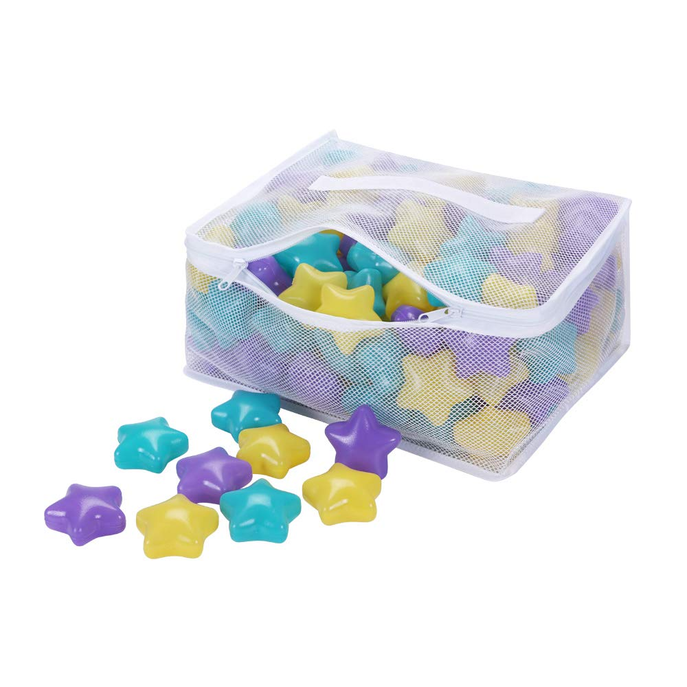 PlayMaty 150pcs Colorful Soft Star Plastic Ocean Balls Kids Swim Pit Fun Toy Ball for Baby Playhouse Pool Birthday Party Decoration (Purple+Yellow+Light Blue)