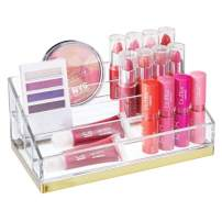 mDesign Plastic 4 Tier Cosmetic Palette Organizer with 4 Compartments for Bathroom Vanity, Countertop or Cabinet to Hold Makeup, Lipstick, Eyeliner, Beauty Accessories - Clear/Soft Brass