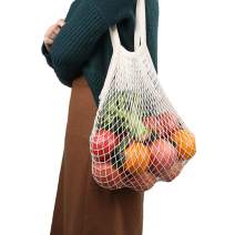 Reusable Produce Bags,esonmus 2 Pcs Mesh Cotton Bags with Handle for Grocery Shopping,Fruits,Veggies,Snack,Eco-Friendly,Biodegradable,Durable,Lightweight,Washable,Beige