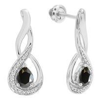 Dazzlingrock Collection 14K 5X4 MM Each Pear Gemstone & Round Diamond Infinity Teardrop Drop Earrings, White Gold