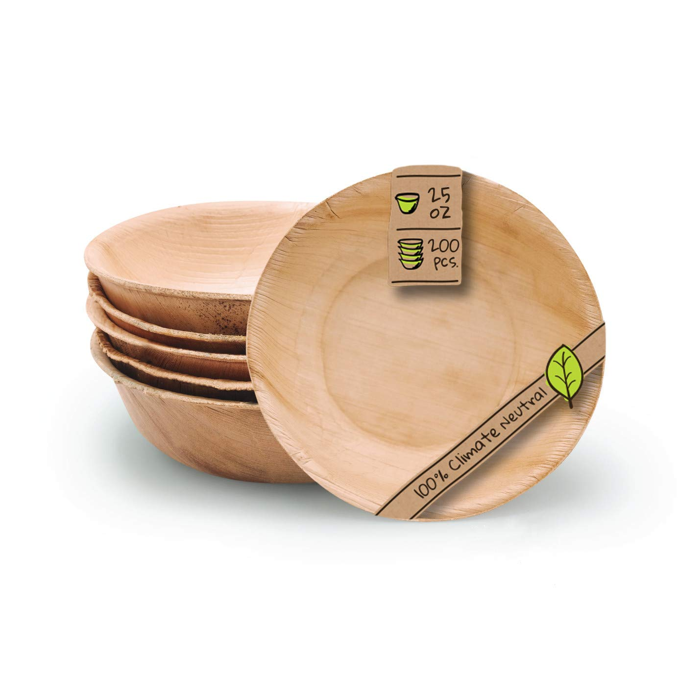 Naturally Chic Palm Leaf Compostable Bowls - 7 Inch Round Biodegradable Disposable Small Dinnerware Set - Eco Friendly - Bowls for Weddings, Parties, BBQs, Events (200 Pack)