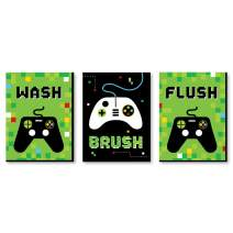 Big Dot of Happiness Game Zone - Kids Bathroom Rules Wall Art - 7.5 x 10 inches - Set of 3 Signs - Wash, Brush, Flush