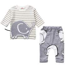 LZH Elephant Clothes Set for Baby Boy Cotton Plaid Long Sleeve Toddler Infant Outfits Sets