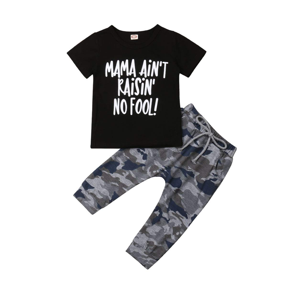 Toddler Baby Boy Short Sleeve Clothes Mama Letters Tops T-Shirt Camo Pants Tracksuit Outfit Set