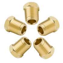"Legines Brass Pipe Fitting Hex Head Plug, 1/8"" NPT Male, 1200psi High Pressure (Pack of 5)"