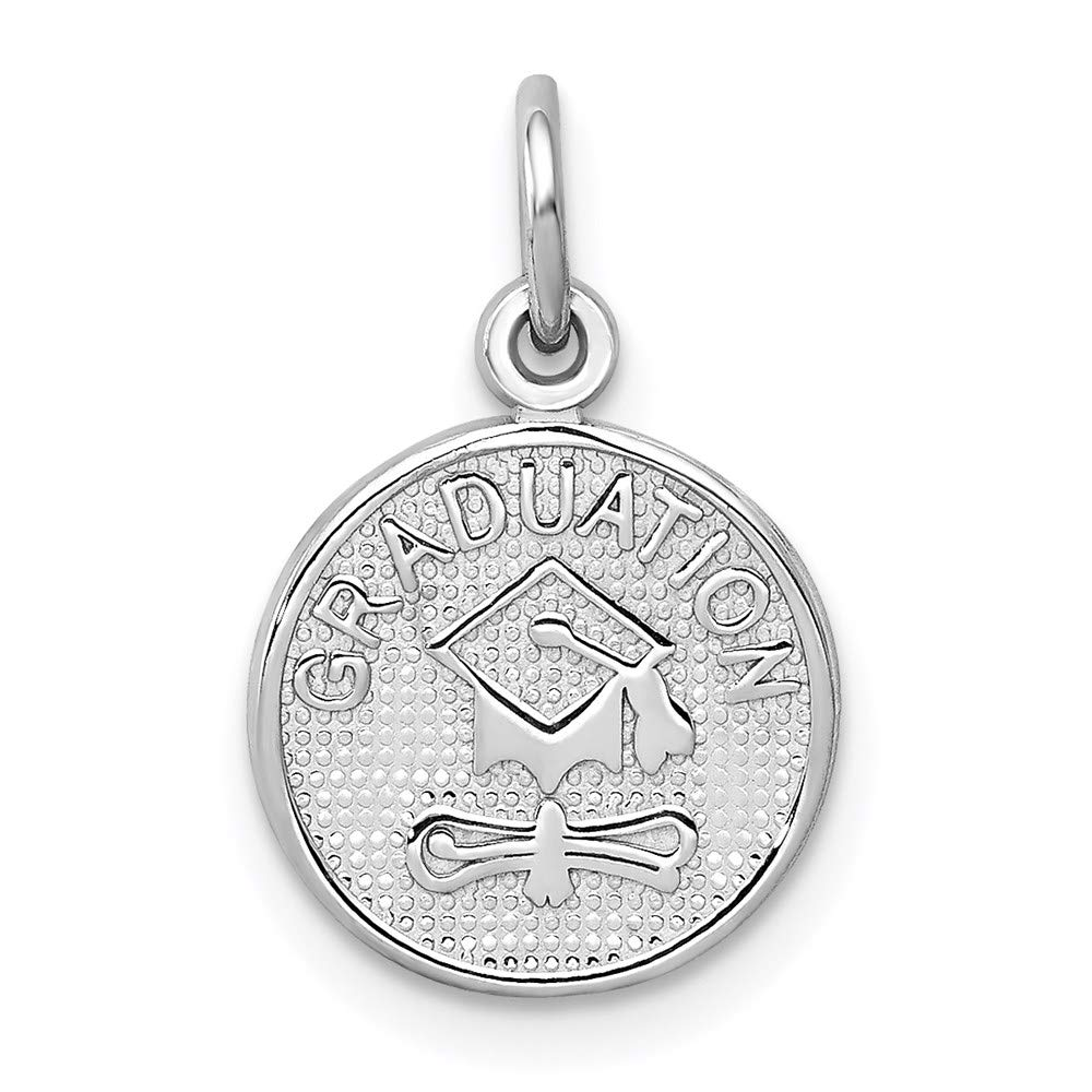 14k White Gold Graduation Disc Pendant Charm Necklace Special Day Fine Jewelry For Women Gifts For Her