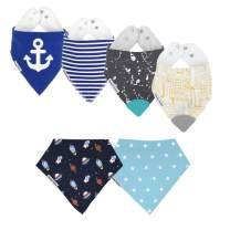 Drool Bibs w/Teethers for Natural Teething Relief, Bazzle Baby BPA-Free Silicone Teether Bandana Bibs, Boy Baby Bibs, 3 to 24 Months, Cotton & Fleece Soak Up Drool, 2 Teether Bibs & 4 Bandana Bibs