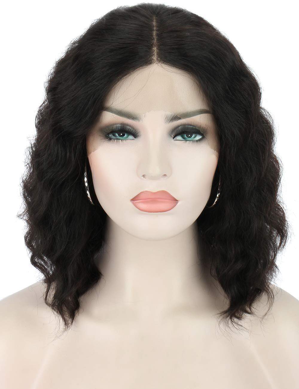 """Beauart Lace Front Wigs Human Hair 12"""" 100% Remy Human Hair Wigs Pre Plucked Short Bob Curly Real Human Hair Wigs for Women with Middle Lace Parting"""