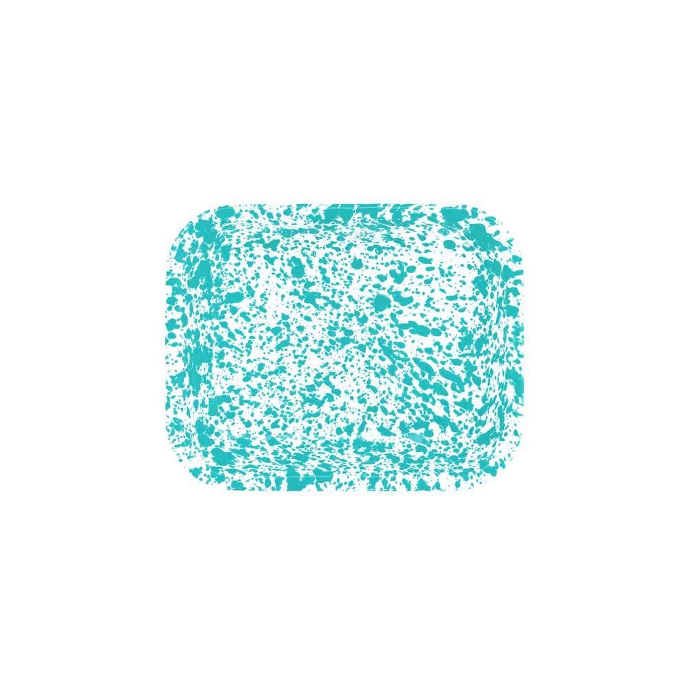 Enamelware Open Roaster, 10.5 x 8 inches, Turquoise/White Splatter (Single)
