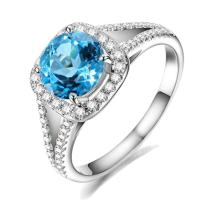 Natural Blue Topaz Gemstone Real Diamond Solid 14K White Gold for Women Lady Wedding Engagement Ring Set