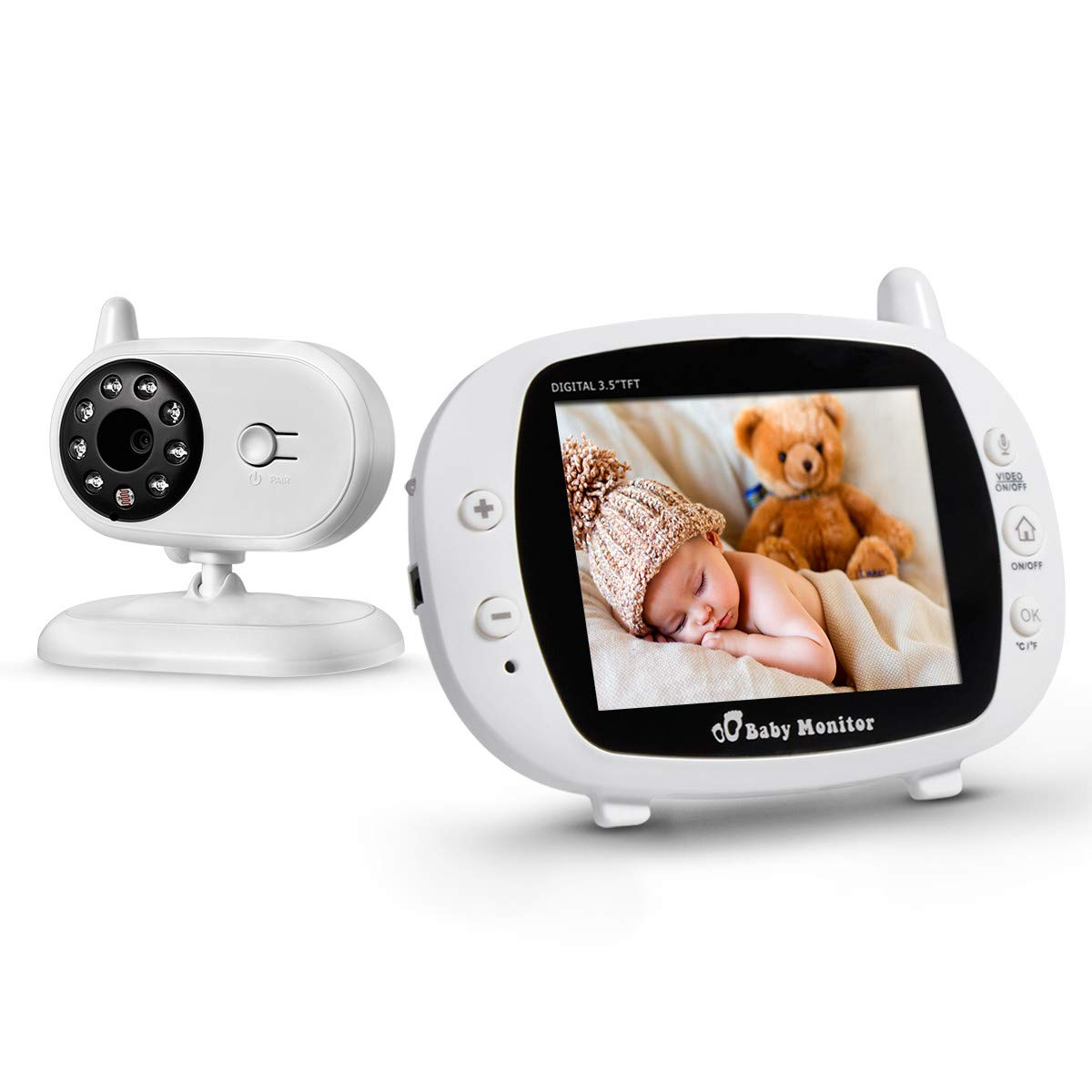 """Firstpower Baby Monitor with Camera and Audio, Easy to Use, 2-Way Talk, 3.5"""" Large LCD Screen, Auto Infrared Night Vision, No Light Pollution, Room Temperature, Lullabies, High Capacity Battery"""