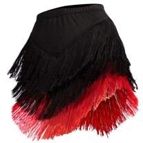 YOUMU Women Latin Skirt Tango Rumba Dancewear Ballroom Fringe Tassels with Shorts Inside