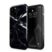 BURGA Phone Case Compatible with iPhone 11 PRO MAX - Shooting Star Golden Cracks Black Marble Cute Case for Girls Heavy Duty Shockproof Dual Layer Hard Shell + Silicone Protective Cover