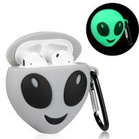 Mulafnxal Compatible with Airpods 1&2 Case,Silicone 3D Cute Fun Cartoon Funny Character Desginer Airpod Cover,Kawaii Fashion Cool Chic Design Skin,Shockproof Cases for Teens Girls Boys Air pods(Alien)