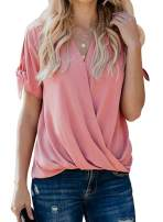 Lovezesent Womens Short Sleeve V Neck Front Wrap Twist Tops Office Blouses Shirt