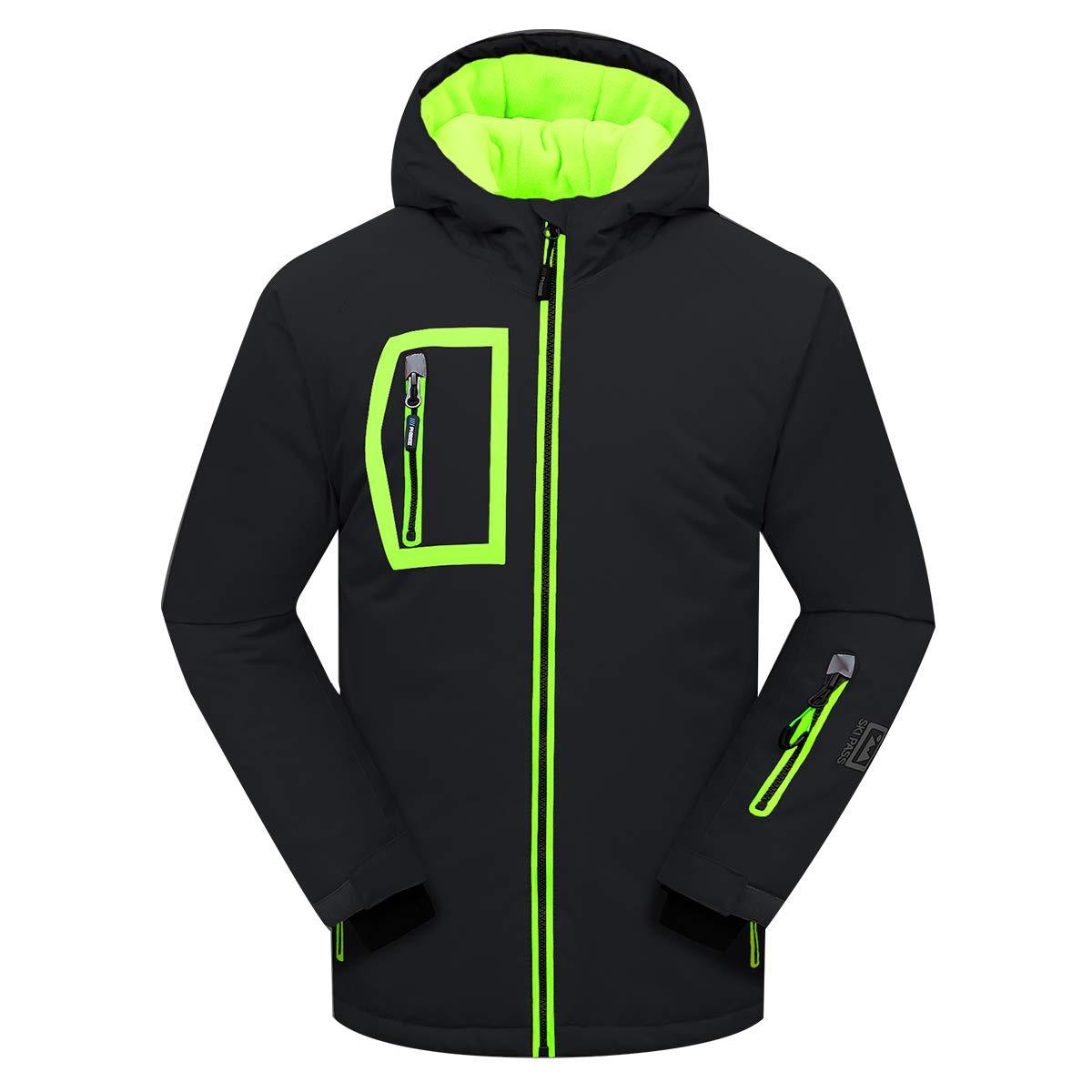 PHIBEE Men's Outdoor Waterproof Windproof Fleece Warm Ski Jacket