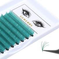 0.07 Green Easy Fan Volume Lash Extensions GEMERRY D Curl 8-14mm Mixed Tray Color Easy Fanning 3D 4D 5D 6D 8D 10D Eyelash Extensions (0.07-d-mix, green)