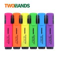 TWOHANDS Highlighter,Chisel Tip,6 Assorted Colors, for Adults & Kids,with Large Ink Reservoir for Extra Long Marking Performance