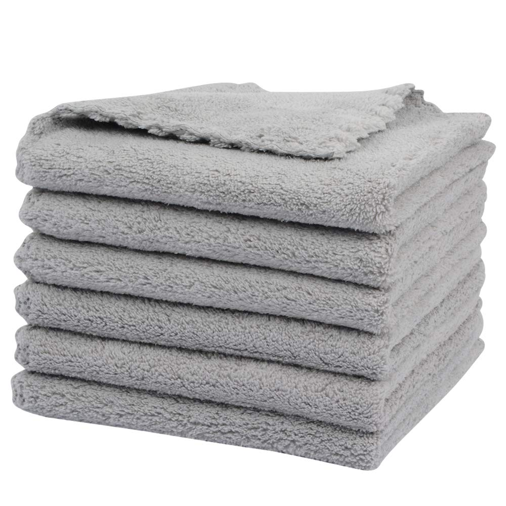 SUNLAND Microfiber Face Makeup Remover Cloth Reusable Facial Cleansing Towel Ultra Soft Face Washcloth 11inchx 11inch (6pack, Grey)
