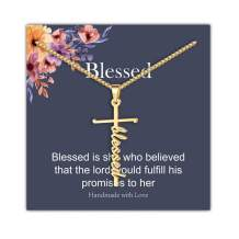 IEFRICH Cross Necklace for Women, Faith Strength Blessed Cross Pendant Necklace Christian Religious Jewelry Inspirational Gifts for Women