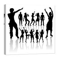 LightFairy Wall Art for Living Room - Glow in The Dark Canvas Painting - Stretched and Framed Giclee Print - Female Girl Group Male Man - Wall Decorations for Bedroom - 32 x 32 inch