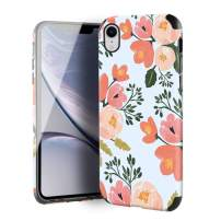 CUSTYPE Case for iPhone XR, iPhone XR Case Floral for Girls & Women, Floral Series Watercolor Camellia Print Pattern Design PC Leather with TPU Bumper Slim Protective Cover for iPhone XR 6.1''