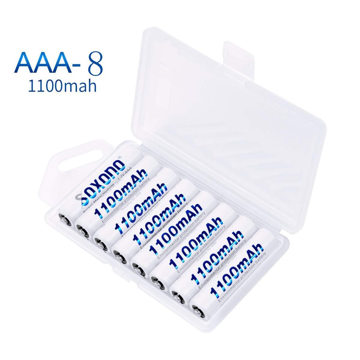 Soxono 8 Pack 1100mAh AAA Rechargeable Batteries 1.2V Ni-MH High-Capacity Triple A Batteries