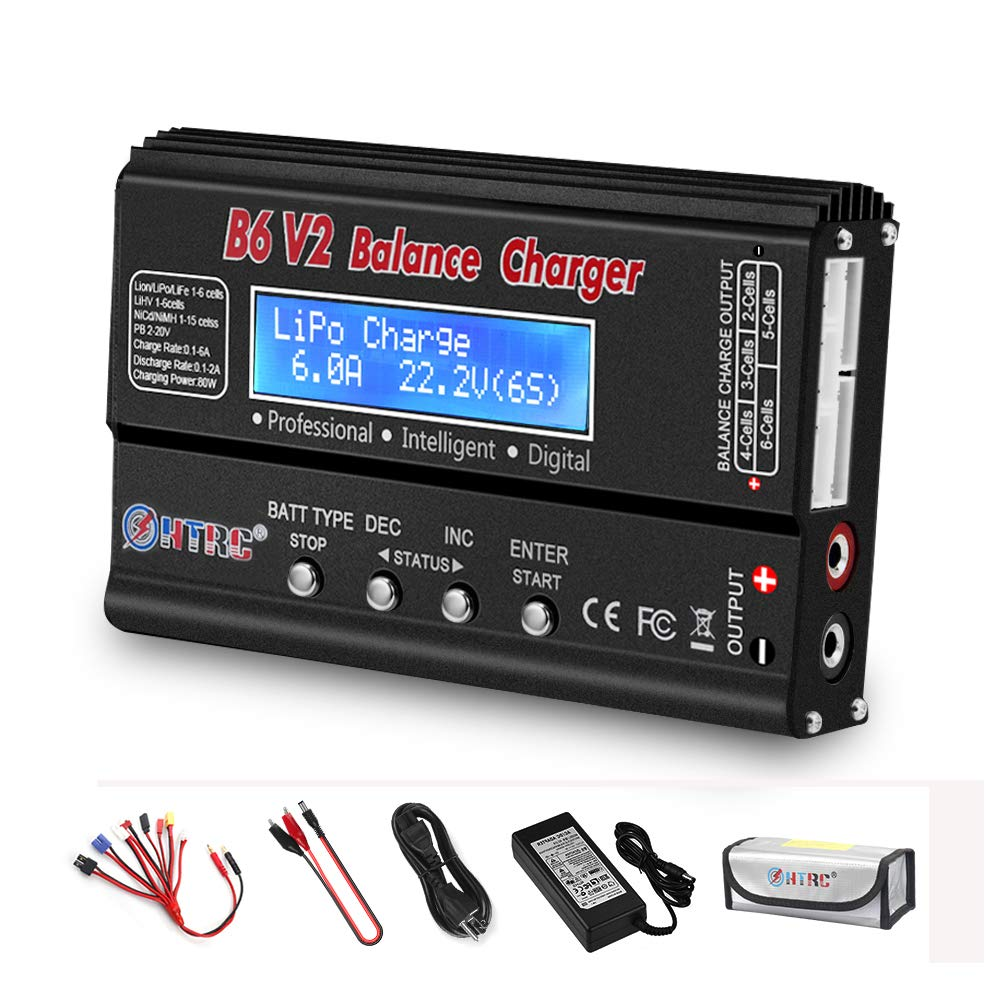LiPo Charger RC Balance Fast Charger Discharger 1S-6S AC/DC B6V2 Digital Battery Pack Charger for NiCd Li-ion Life NiMH LiHV PB Smart Batteries (Black)