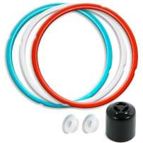 6QT Silicone Sealing Ring 3 Pack with Steam Release Valve Compatible for Instant Pot ULTRA and Float Valve Sealer, Savory Sky Blue & Sweet Cherry Red & Common Transparent White …