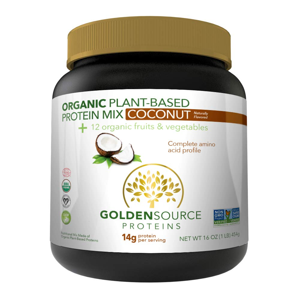 GoldenSource Proteins Organic Plant-Based Protein, Coconut, 1 Pound