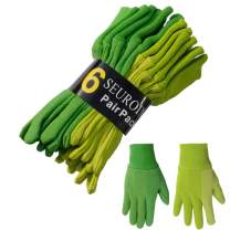 SEUROINT 100% Cotton Gloves with PVC Dots, Knit Wrist Breathable Sure-Grip Work, Gardening Gloves, Non Slip 6 Pairs per pack, Medium, Green & Olivine